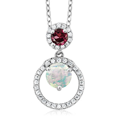 Gem Stone King 1.27 Ct Cabochon White Simulated Opal Red Rhodolite Garnet 925 Silver Pendant