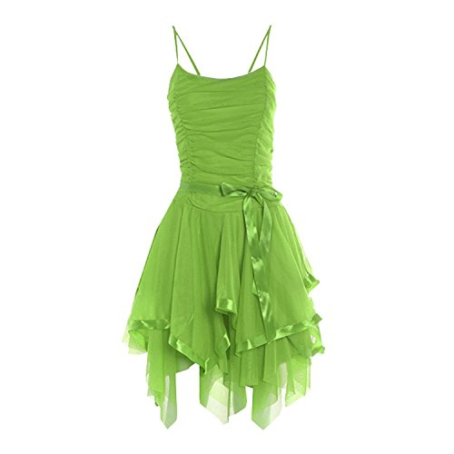 Ladies Prom Strappy Evening Short Cocktail Party Layered Bridesmaid Dress Womens Size One Size (One Size, Lime)