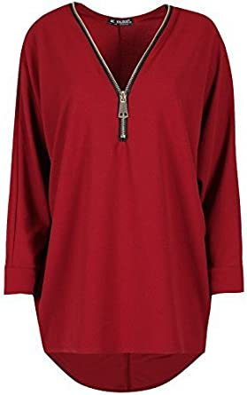 Womens Plus Hem Batwing Curved Baggy Size Sleeve Top Neck Blouse V Long UK 12-26