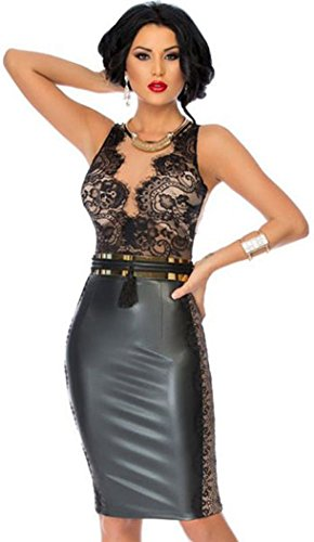 YeeATZ Black Bodycon Leather Dress with Lace Nude Illusion Top(Size,L)