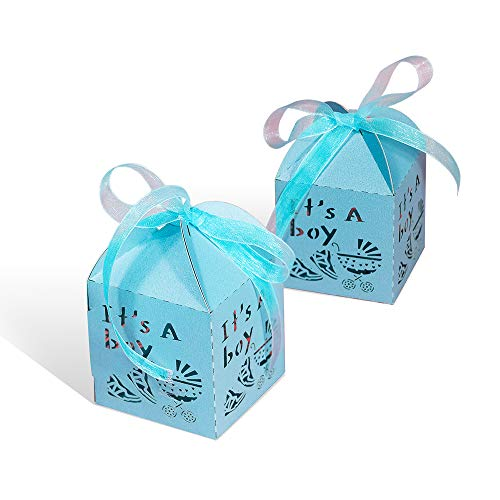 Baby Shower Favor Bags And Boxes (YOZATIA 50pcs Laser Cut Baby Carriage Favor Box Bomboniere Gift Candy Boxes Baby Shower Party Decoration,2.2 x 2.2 x 2.2)