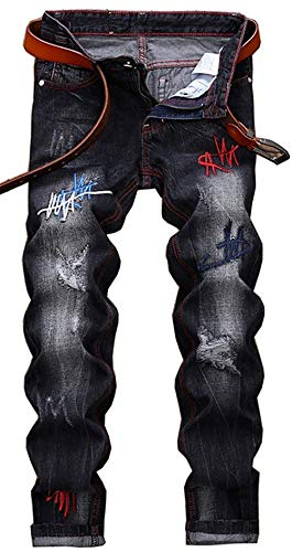 Torn Dimagriscono Jeans Classiche black Fori Denim Distintivo Dei Pantaloni Casual Etero Retrò Patch Ragazzi Uomini Cher 2039 dXwgRXq
