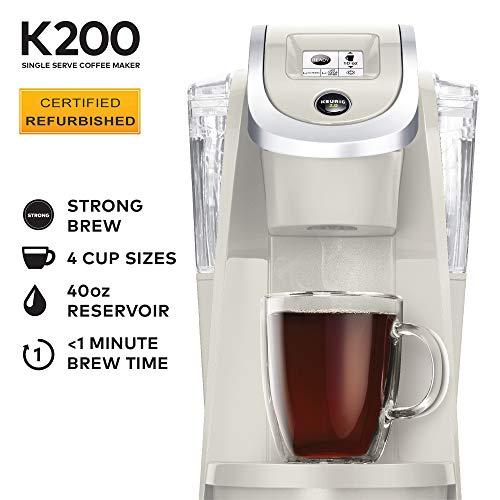 Keurig K200 Certified Refurbished Coffee Maker, Single Serve K-Cup Pod Coffee Brewer, With Strength Control, Sandy Pearl