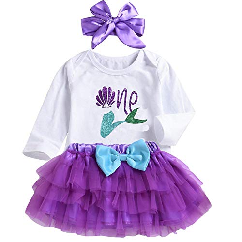 3PCS Toddler Baby Girls Outfit One Mermaid Romper Top+Tutu Skirt + Headband Clothes Set (Long Sleeve, 18-24 Months) -