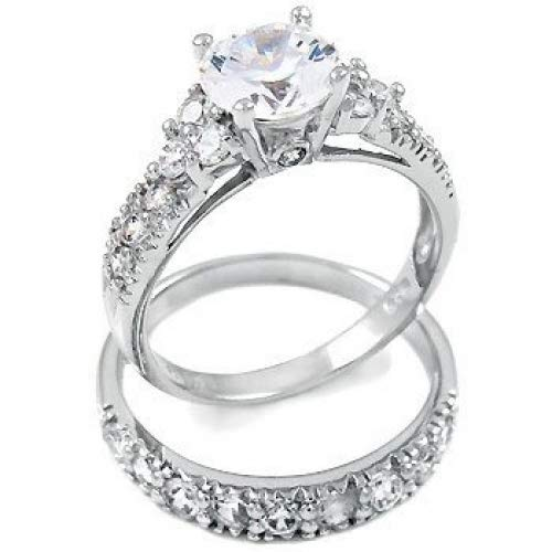 Sterling Silver Cubic Zirconia Wedding Engagement Ring Set (8)