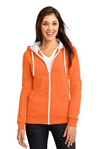 (District Juniors Concert Fleece Full-Zip Hoodie, Neon Orange, M)