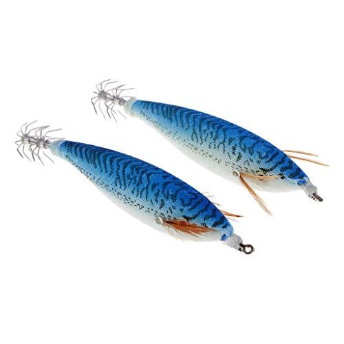 Ameglia Simulation Shrimp Design Fishing Lure Luminous Fake Bait Squid Jig Hooks (Color - Blue)