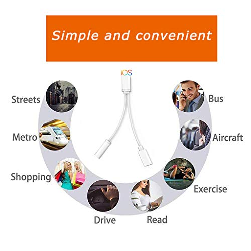 Headphones Adapter for iPhone Charger Dongle 3.5mm Jack AUX Audio Cable Adaptor Music & Charging for iPhone 7/7 Plus/XR/XS Max/11/11 Pro Splitter Aux Adapter Earphone Converter Support iOS 12/13