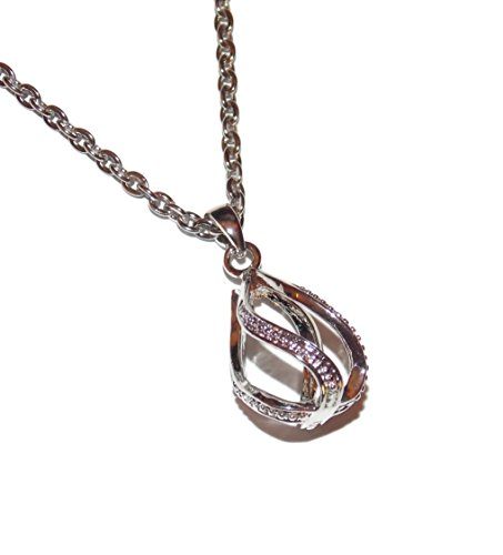 Drop Twist Pearl Cage with 20 Inch Stainless Steel Chain Create Your Own Custom Necklace Jewelry Kit