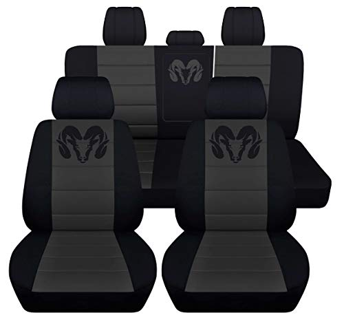 Fits 2012 to 2018 Dodge Ram Front and Rear Ram Seat Covers 22 Color Options (40-60 Rear with Armest, Black - Cover Dodge Front
