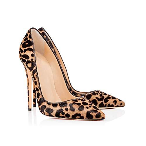 De Del Estampado Cerrada Zapatos Tal Bombas Vestir Apuntado Fiesta Punta De Altura Stiletto Leopardo Bar Moda Mujeres 1qX7Zxwx