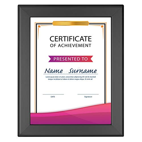 SnapeZo Certificate Frame 8.5x11, Black, 1.25 Inch Aluminum Profile, Front-Loading Snap Frame, Wall Mounting, Professional Series