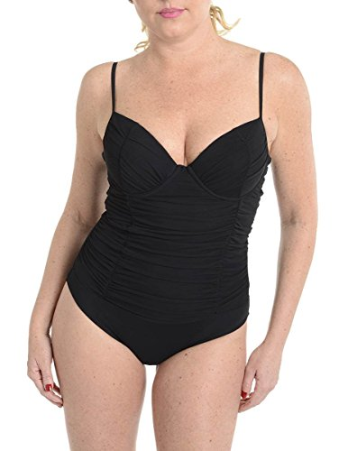 Spanx Womens Ruched Shaping One-Piece Swimsuit Black