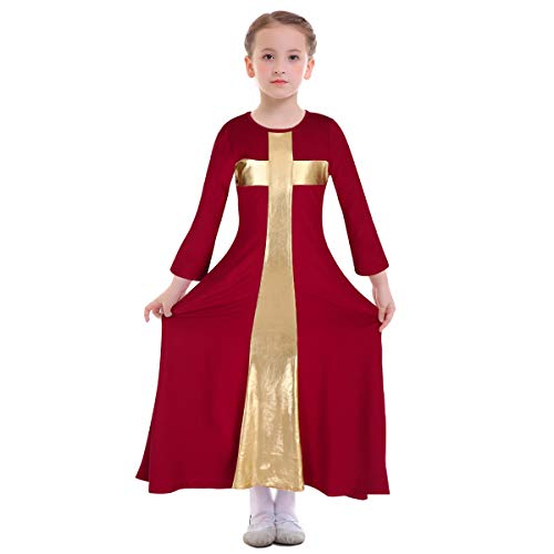 Kids Girls Liturgical Praise Robe Cross Lyrical Dance Worship Dress Metallic Color Block Bell Long Sleeve Loose Fit Floor Length Holiday Swing Dress Ballet Praisewear Costume Wine Red-Gold -