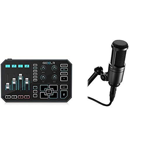GoXLR - Mixer, Sampler, & Voice FX for Streamers & Audio-Technica AT2020 Cardioid Condenser Studio XLR Microphone, Black, Ideal for Project/Home Studio Applications
