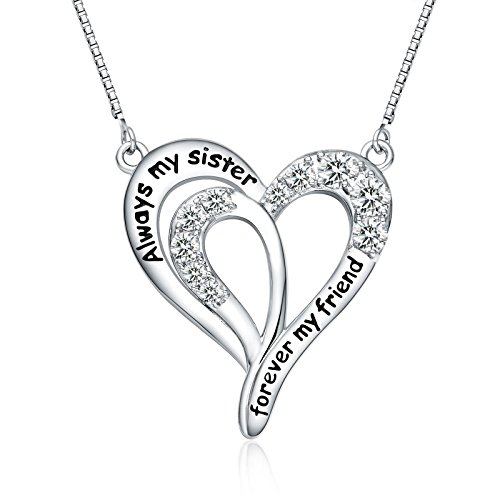 """FANCYCD """"Always My Sister Forever My Friend"""" Love Heart Necklace, 18"""