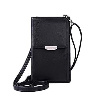 NYKKOLA Small Crossbody Bag Cell Phone Wristlet Purse Wallet Mini Handbag with Shoulder Strap For Women Lady Girls Black