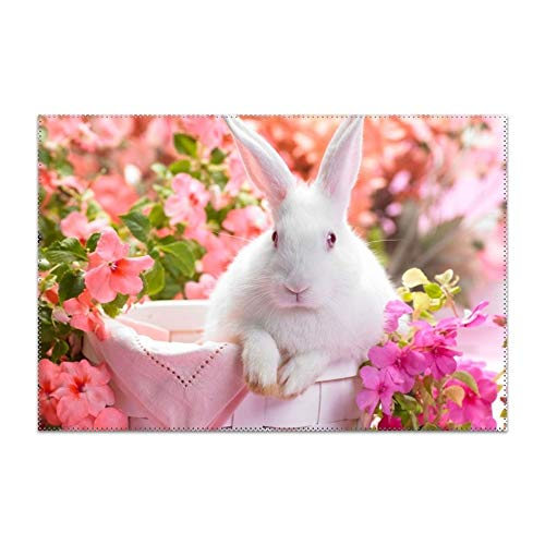 YLJH Placemats, Heat-Resistant Placemats Stain Resistant Anti-Skid Washable Polyester Table Mats Placemats, White Rabbit Wite Flowers HD Wallpaper -