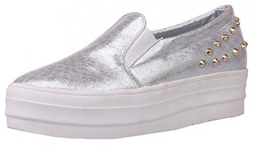 IDIFU Women's Dressy Studded Low Heel High Platform Sneakers Round Toe Slip On Flat Loafers Silver 8.5 B(M) US