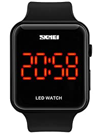 Unisex Mens Women Simple Design Square Dial Rubber Band Digital LED Wrist Watch (Black)
