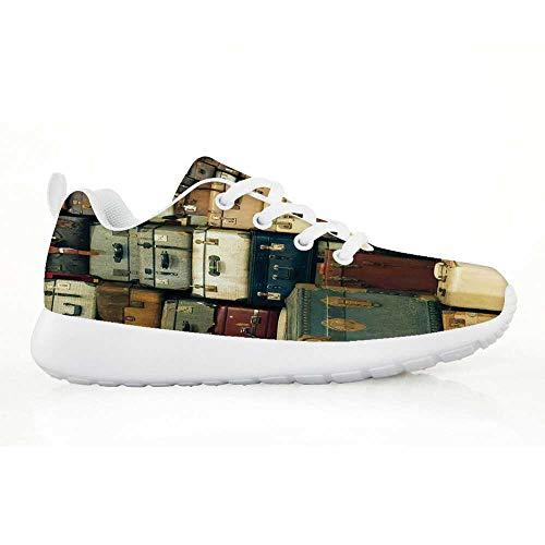 (Vintage Comfortable Running Shoes,Colorful Vintage Suitcase Antique Leather Decorative Travel Gift Map Nostalgia for Kids Boys,EU33)