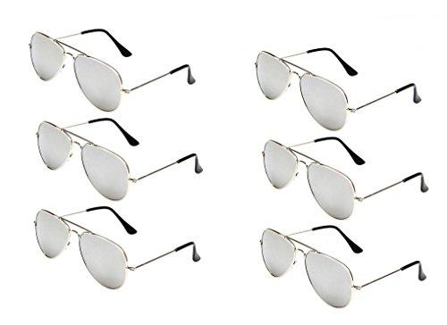 WODISON Classic Kids Aviator Sunglasses Bulk Reflective Metal Frame Children Eyeglass 6 Pack -