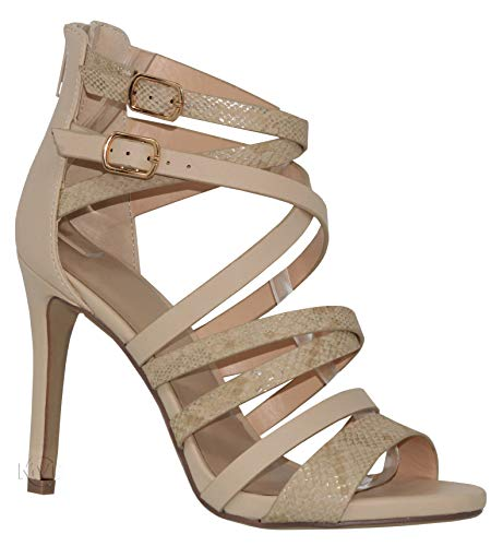 (MVE Shoes Womens Sexy Open Toe Heeled Sandals, Cross Straps Party Heels, Taddy Nude Multi)