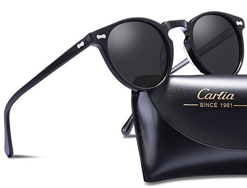 Vintage Round Sunglasses - Carfia Retro Polarized Sunglasses for Women Men, 100% UV400 Protection