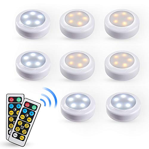 Eicaus Wireless Warm/Cool Bi-Color under Cabinet Lighting 8 Pack, Dimmable Led Puck Light with Remote Control for Counter Kitchen Closet, Battery Powered, Auto Off Timer, Tap On/Off, Stick on Anywhere