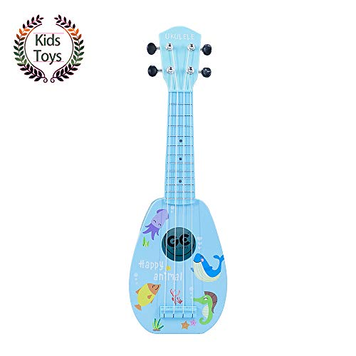 "Yolopark 17"" Mini Guitar Ukulele Toy for Kids, 4 Strings Keep Tones Can Play Not Electronic Ukulele, Children Musical Instruments Educational Toys with The Picks and Strap for Beginner Starter(Blue)"