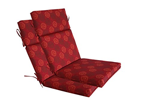 [SewKer] Indoor/Outdoor Patio Quick-Drying Top Quality High Back Chair Cushion, set of 2- Classic Red Medallion ()