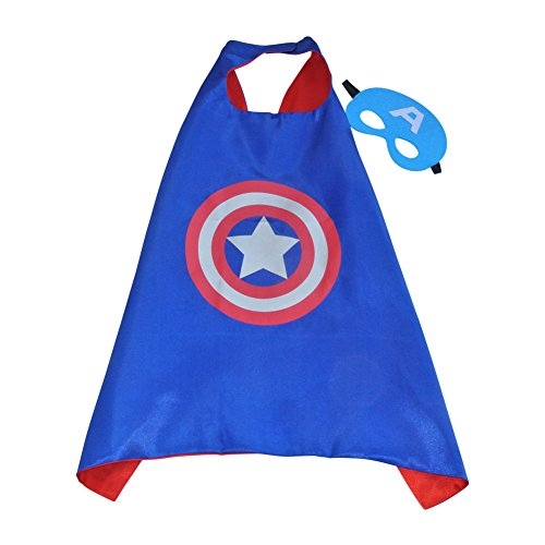 Toddler Boy Girl Super Heroes Costumes with Satin Cape and Felt Mask (Captain America)