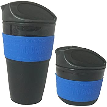 VoyagerLife 12oz Collapsible Travel Mug with Leak Proof Lid for Traveling, Portable Coffee Mug, Reusable Travel Mug, BPA Free Silicone, Best Travel Mug, Best Coffee Mug, Eco-Friendly Coffee Cup (Blue)