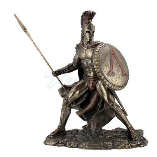 Resin Statues Leonidas, Greek Warrior King, Bronzed Sculptural Statue 10.25 X 13.25 X 6.25 Inches ()