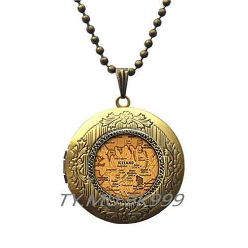 Yao0dianxku Iceland country map Locket Necklace, Iceland map Locket Pendant, iceland europe jewelry friend family gift idea, map jewelry.Y258 (2) ()