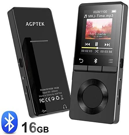 Amazon Com Agptek 16gb Mp3 Player Bluetooth 4 0 With Loud Speaker Metal Lossless Music Player Supports Fm Radio Recording Expandable Up To 128gb Black M16s Electronics