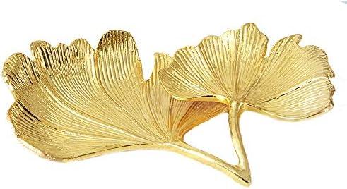 ケーキトレイ 小さな装身具トレイリング皿金箔ジュエリーボウル皿バニティトレイSZinc合金金 装飾トレイ (Color : Gold, Size : 15x10x2cm)