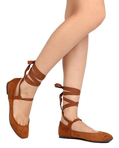Breckelle's Women Faux Suede Ribbon Tie Ballet Flat GJ49 - Tan (Size: 6.0) (Suede Ribbon Faux)