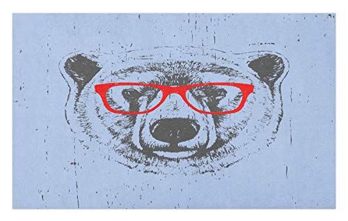 Ambesonne Hipster Doormat, Whimsical Grunge Portrait of a Polar Bear with Glasses, Decorative Polyester Floor Mat with Non-Skid Backing, 30 W X 18 L Inches, Pale Ceil Blue Vermilion Charcoal Grey
