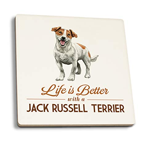 Lantern Press Jack Russell Terrier - Life is Better - White Background (Set of 4 Ceramic Coasters - Cork-Backed, Absorbent) 1