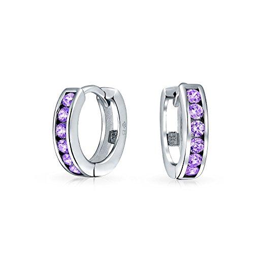 (Purple Cubic Zirconia CZ Channel Set Small Kpop Huggie Hoop Earrings For Women Simulated Amethyst 925 Sterling Silver)