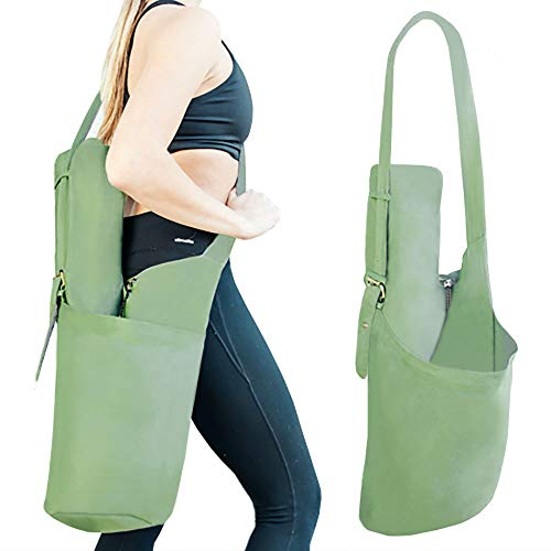 RIMSports Yoga Mat Bag - Lightweight Carrier with Hoodie and Large Size Pockets - Ideal for All Yoga Mats (Olive Green)