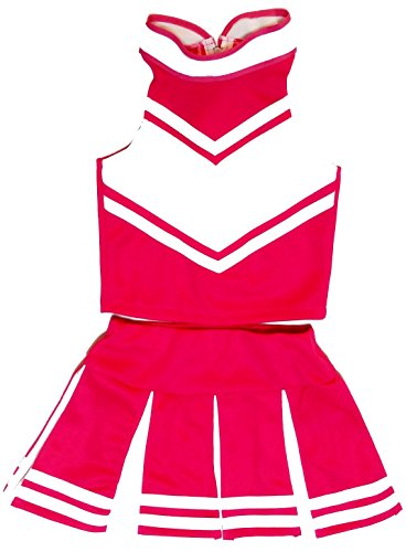 [Little Girls' Cheerleader Cheerleading Outfit Uniform Costume Cosplay Pink/White (M / 5-8)] (Cheerleader Kids Outfit)