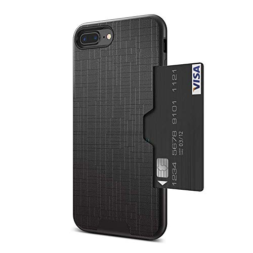 FLOVEME iPhone 7 Plus Case/iPhone 8 Plus Wallet Case Slim Card Slot Protective Apple iPhone 8/7 Plus Cases with Hidden Side Credit Card Holder Cool Cross Design Mobile Phone Cover (Black)