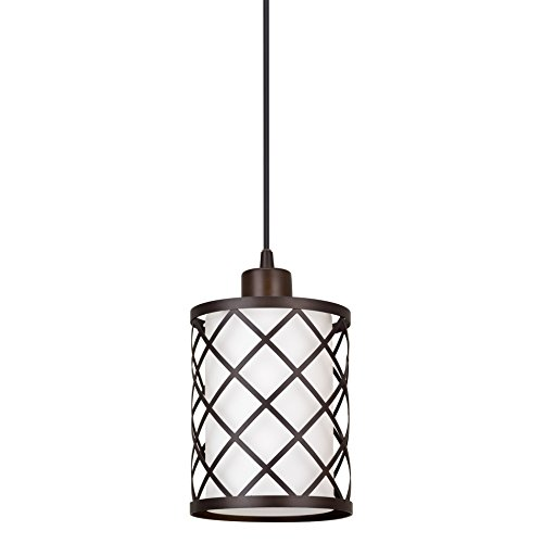 "Kira Home Harper 10"" Modern Pendant Light + Outer Lattice Metal Shade + Inner Glass Shade, Adjustable Wire, Oil-Rubbed Bronze Finish"