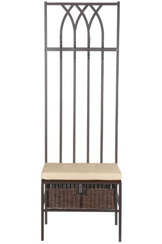 Southern Enterprises Tristan Hall Tree Entry Bench, Dark Brown with Beige - Macy Domain