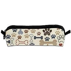 GGlooking Portable Pencil Pouch Blue Dog Footprint Bone Simple Zipper Bag,Pen Case Office School Supplies Organizer Stationery Holders