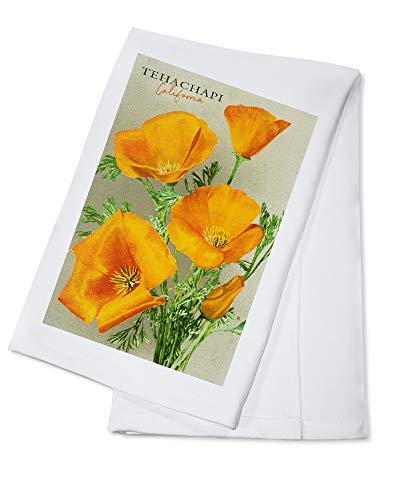 Tehachapi, California - Poppy Flowers - Vintage Poster 97582 (100% Cotton Kitchen Towel)