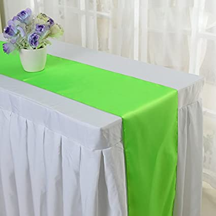10PCS 12 X 108 Inch Satin Table Runner Wedding Banquet Decoration (#10 Apple  Green