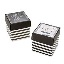 Kate Aspen Classic Striped Favor Box, Black and White, Set of 24